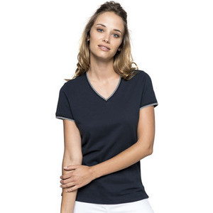 K394 Piqué Woman V-neck T-shirt
